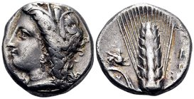 LUCANIA. Metapontum. Circa 330-290 BC. Didrachm or nomos (Silver, 18 mm, 7.70 g, 8 h), Ly... Head of Demeter to left, wearing grain wreath, triple pen...