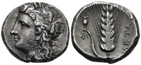 LUCANIA. Metapontum. Circa 330-290 BC. Nomos or Didrachm (Silver, 19 mm, 7.95 g, 12 h). Head of Demeter to left, wearing wreath of barley ears and tri...