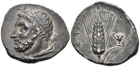 LUCANIA. Metapontum. Circa 290-280 BC. Didrachm or nomos (Silver, 22.5 mm, 7.90 g, 5 h). Diademed and bearded head of Herakles to left, with his lion'...