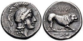 LUCANIA. Velia. Circa 300-280 BC. Nomos (Silver, 20 mm, 7.35 g, 7 h). Head of Athena to right, wearing laureate Attic helmet. Rev. ΥΕΛΗΤΩΝ Lion walkin...