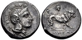 LUCANIA. Velia. Circa 300-280 BC. Nomos (Silver, 21 mm, 7.29 g, 9 h). Head of Athena to right, wearing helmet with griffin; Φ behind her neck, Π above...