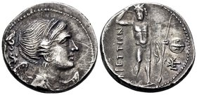 BRUTTIUM. The Brettii. Circa 216-214 BC. Drachm (Silver, 18 mm, 4.66 g, 10 h), issued during the Second Punic War. Diademed and draped bust of Nike to...