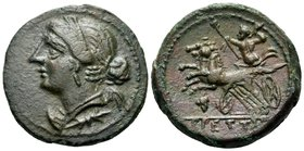 BRUTTIUM. The Brettii. Circa 214-211 BC. Half Uncia (Bronze, 18.5 mm, 4.29 g, 8 h). Winged and diademed bust of Nike to left; thunderbolt below her ne...