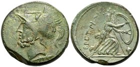 BRUTTIUM. The Brettii. Circa 211-208 BC. Double Unit (Didrachm?) (Bronze, 25.5 mm, 16.22 g, 10 h). Helmeted head of Ares to left, griffin on helmet; b...