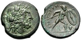 BRUTTIUM. The Brettii. Circa 211-208 BC. Unit (Bronze, 21 mm, 8.32 g, 6 h). Laureate head of Zeus to right; thunderbolt behind his neck. Rev. ΒΡΕΤΤΙΩΝ...