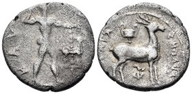 BRUTTIUM. Kaulonia. Circa 440-400 BC. Third Nomos (Silver, 15.5 mm, 2.21 g, 6 h). KAY Apollo, nude, striding right, brandishing laurel branch in his u...