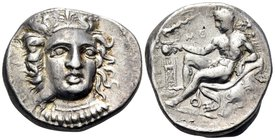 BRUTTIUM. Kroton. Circa 400-325 BC. Didrachm or nomos (Silver, 20 mm, 7.85 g, 3 h). Head of Hera Lakinia three-quarters facing, turned slightly to the...