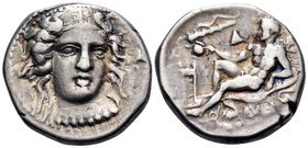 BRUTTIUM. Kroton. Circa 400-325 BC. Didrachm or nomos (Silver, 20.5 mm, 7.82 g, 4 h). Head of Hera Lakinia three-quarters facing, turned slightly to t...