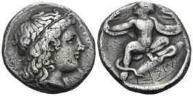 BRUTTIUM. Kroton. Circa 400-325 BC. Stater (Silver, 20 mm, 7.49 g, 2 h), c. 340s. ΚΡΟΤΟΝΙΑ - ΤΑΣ Laureate head of Apollo to right, with his long hair ...