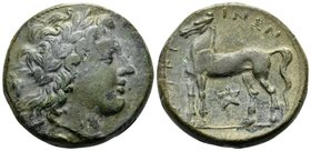BRUTTIUM. Nuceria. Circa 225-200 BC. (Bronze, 20 mm, 8.22 g, 12 h). Laureate head of Apollo right; grape cluster behind; crab below neck ( partially v...