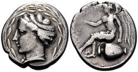 BRUTTIUM. Terina. Circa 440-425 BC. Nomos (Silver, 22 mm, 7.84 g, 6 h). Head of the nymph Terina to left, wearing ampyx, simple torque and a pearl nec...