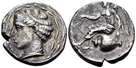 BRUTTIUM. Terina. Circa 440-425 BC. Nomos (Silver, 20.5 mm, 7.54 g, 9 h). Head of the nymph Terina to left, wearing ampyx, simple torque and a pearl n...
