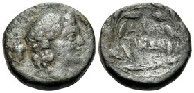SICILY. Alontion. Circa 241 BC. (Bronze, 13 mm, 1.95 g, 1 h). Head of young Dionysos to right; behind, bunch of grapes. Rev. AΛΟΝ-ΤΙΝΩΝ in two lines w...