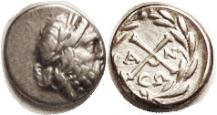 ACHAEAN League , ANTIGONEIA , Ar Hemidrachm, 196-146 BC, Zeus head r/X monogram in wreath, VF, obv off-ctr to right crowding profile; excellent metal ...
