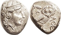 Same but later style, 300-262 BC, S2547; EF, good centering for this, favoring the profile on obv, with most of the rest of head on flan; owl has full...