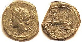 BRETTIAN League , Æ18, 215-205 BC, Nike head l./Zeus in biga r; AVF, centered on flan short at one edge with appearance of a straight clip; features c...