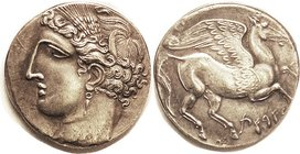 CARTHAGE , Dekadrachm (large 40 mm), Tanit head/ Pegasos, S6442; Copy , appears struck & silver tho likely plated. Tiny c/mk at rev bottom. EF, beauti...