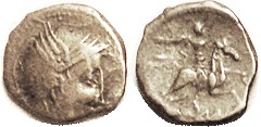 Rhone Valley, Ar Quinarius, c. 75 AD, Roma head r/ horseman r, F-VF, obv typically off-ctr, to bottom, and a little crude; rev nice; good metal with m...