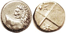 CHERRONESOS , Hemidrachm, 400-350 BC, Lion forepart/ rev divided in four, in one quarter pellet & monogram, the other a bee; EF, obv nrly centered wit...