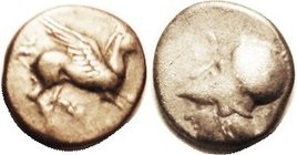 CORINTH , Stater, c.350-300 BC, Pegasos r/Athena hd l, F-VF/F, obv nrly centered with horse head crowded, rev much off-ctr to bottom; trace of scrs. N...
