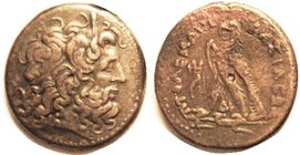 Ptolemy IV, Æ34, Zeus Ammon hd r/Eagle stg l, Delta-I betw legs; Svor. 1127; VF+/VF, centered, tan-brown patina, rev with sl touch of roughness at top...