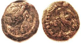 Ptolemy VIII Æ18, Zeus head r/Eagle l, Theta-E to left; F, nrly centered, grey-brown, sl grainy, features clear. Rare! (A VF [I'd grade F+] brought $2...