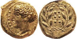 HIMERA, Æ17 (Hemilitron), 420-408 BC, Nymph hd l./6 pellets in wreath, S1110; EF, just sl off-ctr, head complete with strong detail; nice smooth deep ...