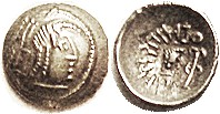 HIMYARITES , (Arabia), Ar Quinarius, Amdan Bayyin Yanaf, c. 100 AD, Head rt, symbol behind/ Lgnd, small head r, scepter at rt, GIC-5718; EF/VF, deeply...