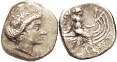 HISTIAIA , Tetrobol, 3rd cent BC, Nymph head r/nymph std on galley stern, S2496; VF, nrly centered on sl unround flan, extremely minor surface imperfe...
