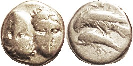 ISTROS , Stater, 400-350 BC, Two facg heads, left inverted/ eagle atop dolphin, as S1669 (£225); F, well centered, good metal with lt tone, just worn;...