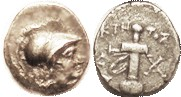 KAUNOS , Hemidrachm, 166-150 BC, Athena head r/sword in sheath, Magistrate KTH-TOS, S4818 (£65); VF, centered somewhat low but complete, toned, minor ...