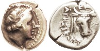 KNIDOS , Hemidrachm, 387-300 BC, Aphrodite head r/Head & neck of bull, Magistrate Agisikles, Cf. S4845 (£140); AVF, nrly centered, good metal with lt ...