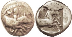 LARISSA , Hemidrachm, 480-450 BC, Youth restraining bull r/horse forepart r in square, F+, sl off-ctr, decent metal with only a whisp of granularity; ...