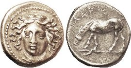 Drachm 350-325 BC, Nymph head 3/4 l./ horse left, lgnd above, Nice VF, obv centered just a touch low but complete, rev well centered; original light p...