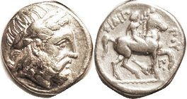 MACEDON , Philip II, 359-336 BC, Tet, Zeus head r/Youth on horse right, dolphin & Pi & pellet below; VF/F-VF,. well centered & struck, decent metal, b...