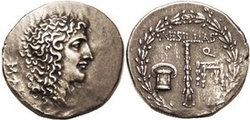 Aesillas, Quaestor, Tet, c. 90-75 BC, Alexander head r/Club, money-chest & chair in wreath, S1463; AEF, obv centered on broad flan (lgnd mostly off); ...