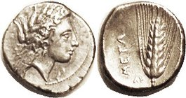 METAPONTUM , Stater, c.330-300 BC, Demeter head r/ grain ear, AY, Nike at right; Strong VF, sl off-ctr, head complete, rev Nike off flan; good detail ...