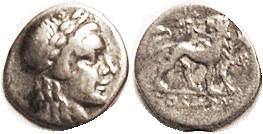 Drachm, 2nd cent BC, Apollo head rt/lion stg rt, looking back, star above, Magistrate Theodoros below; F-VF/F+, well centered, good metal with lt tone...