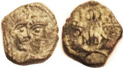 NABATAEA , Rabbel II & Queen Gamilath, 71-106 AD, Æ17, conjoined busts r/lgnd betw cornucopiae, GIC-5706; F-VF/F or so, centered on unround flan, dark...