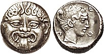 NEAPOLIS (Macedon) Hemidrachm, 424-350 BC, Facing Gorgoneion/nymph head r, lgnd around, S1417; AEF/VF, obv well centered, rev nrly so; good metal with...