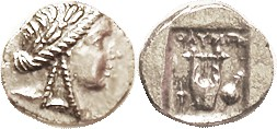 OLYNTHOS , Lycian League Hemidrachm, 167-81 BC, Apollo head r/Lyre, torch, sword-&-shield; EF, just a bit off-ctr, nothing lost; sl crude strike; brig...
