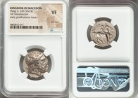 MACEDONIAN KINGDOM. Philip II (359-336 BC). AR tetradrachm (22mm, 6h). NGC VF, test cut. Posthumous issue of Amphipolis, ca. 323-315 BC. Laureate head...