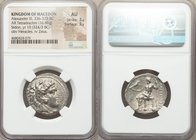 MACEDONIAN KINGDOM. Alexander III the Great (336-323 BC). AR tetradrachm (25mm, 16.88 gm, 12h). NGC AU 3/5 - 3/5. Sidon, Year 10 (324/3 BC). Head of H...
