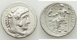 MACEDONIAN KINGDOM. Alexander III the Great (336-323 BC). AR tetradrachm (28mm, 16.28 gm, 11h). XF, porosity, scratches. Lifetime issue of Myriandrus ...