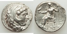 MACEDONIAN KINGDOM. Alexander III the Great (336-323 BC). AR tetradrachm (26mm, 16.75 gm, 11h). About XF, graffito, scratches, countermark. Late lifet...