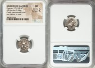MACEDONIAN KINGDOM. Perseus (179-168 BC). AR drachm (16mm, 2.64 gm, 5h). NGC MS 5/5 - 4/5. Pseudo-Rhodian, Greek mercenaries issue, ca. 175-170 BC, Er...