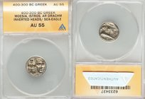 MOESIA. Istrus. Ca. 400-300 BC. AR drachm (16mm, 6h). ANACS AU 55. Two facing male heads; the left inverted / IΣTPIH, sea eagle left, grasping dolphin...