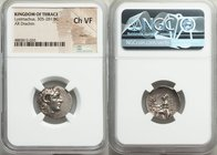 THRACIAN KINGDOM. Lysimachus (305-281 BC). AR drachm (19mm, 12h). NGC Choice VF, marks. Ephesus, ca. 294-287 BC. Diademed head of deified Alexander II...