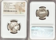 ATTICA. Athens. Ca. 440-404 BC. AR tetradrachm (23mm, 17.20 gm, 8h). NGC MS 3/5 - 5/5. Mid-mass coinage issue. Head of Athena right, wearing crested A...