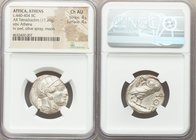 ATTICA. Athens. Ca. 440-404 BC. AR tetradrachm (23mm, 17.20 gm, 1h). NGC Choice AU 4/5 - 4/5. Mid-mass coinage issue. Head of Athena right, wearing cr...